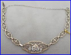 10K Gold Filigree / Art Deco Bracelet with Small Genuine Natural Diamond (#J663)