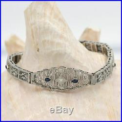 10k WG Antique Art Deco Filigree Diamond & Sapphire Bracelet 7 Long