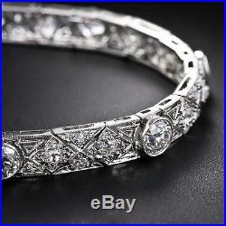 12 Carat Vintage Art Deco Brilliant Cut Moissanite 925 Silver Bracelet 7 Inch
