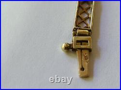 14K Art Deco Pierced Engraved Yellow Gold 5 Stone Peridot Bracelet 7 1/8