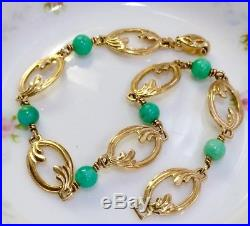 14K Gold Turquoise Art Deco ESEMCO 7.25 Floral Link Bracelet 6.6g Not Scrap