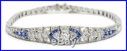 14K White Gold Over Diamond And Sapphire Studded 5.05CT Art Deco Bracelet