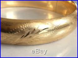 14K Yellow Gold Hinged Bangle Bracelet, 19.43 g, 1/2 Wide, Vintage, Art Deco
