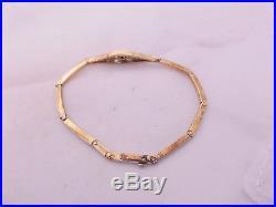 14ct/14k two coloured gold Diamond & natural Pearl Art deco bracelet, 585