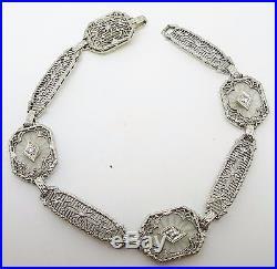 14k Gold Art Deco Filigree Genuine Natural Rock Crystal Bracelet (#J3424)