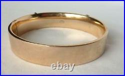 14k Gold Vintage Art Deco 1918 Etched Buckle 5/8 Hinged Bangle Bracelet 23.5g