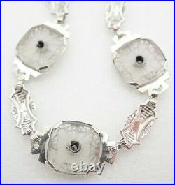 14k Solid White Gold Antique Art Deco Diamond Camphor Glass Filigree Bracelet