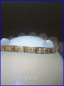14k White Gold Art Deco Sapphire & Diamond Filigree Tennis Bracelet Estate