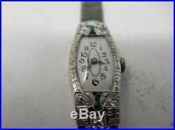 14k White Gold Diamond Emerald Women's Swiss Art Deco Hand-Winding Watch C. 1930