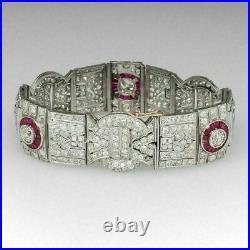14k White Gold Fn Baguette Ruby & Round Cut Diamond 7.25 Art Deco Bracelet