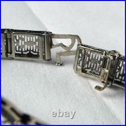 14k White Gold Vintage Art Deco Diamond Sapphire Filigree Bracelet 10gr Sz 7