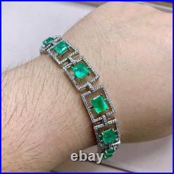 16.10Ct Green Emerald & Diamond Tennis Bracelet 14K White Gold Finish