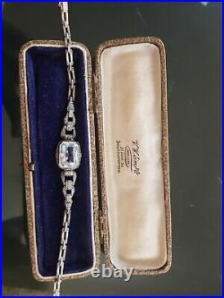 188A Antique Art Deco Silver pale aquamarine PASTE bracelet READ DESCRIPT
