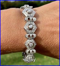 18K White Gold Diamond Wide Graduated Mechanistic Vintage Bracelet Art Deco 1930