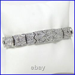 18 kt White Gold ART DECO STYLE Diamond Flexible Link Bracelet 7 A7318