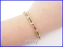 18ct gold diamond sapphire emerald ruby bracelet art deco design, 18.8 grams