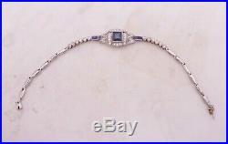 18ct gold platinum sapphire diamond bracelet, boxed art deco period