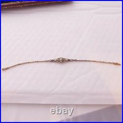 18ct rose gold sapphire old cut diamond bracelet boxed, art deco