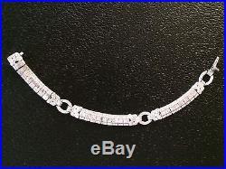 18k Gold 6.87 Ct. Art Deco Design Vs Baguette & Round Diamond Bracelet