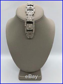 18k Solid White Gold Art Deco Style Diamond 6.15 TCW Tennis Bracelet RP $11.150
