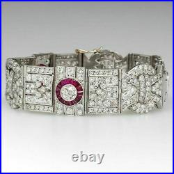 18k White Gold Over Baguette Ruby & Round Cut Diamond 7.25 Art Deco Bracelet