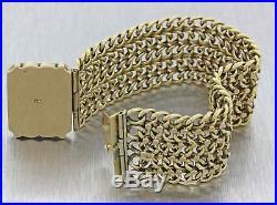 1912 Antique Art Deco 14k Yellow Gold 25mm Wide Bismark Chain Link Bracelet J8
