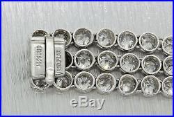 1920 Antique Art Deco Platinum 20.00ct Diamond 3 Row Wide Bezel Link Bracelet J8