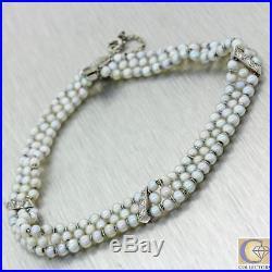 1920 Antique Art Deco Platinum 2mm Natural Salt Water Pearl 3 Strand Bracelet J8