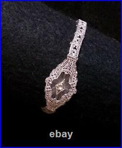 1920 Camphor Glass Bracelet Marquise Shaped Sterling Edwardian Filigree Hallmark