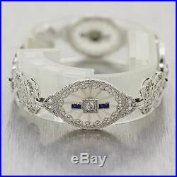1920's Antique Art Deco 10k White Gold Camphor Glass Sapphire & Diamond Filigree