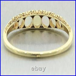 1920's Antique Art Deco 18k Yellow Gold Opal & 1.50ctw Diamond Bangle Bracelet
