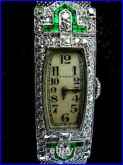 1920s 30s Art Deco Tiffany & co Vintage Antique Diamond Emerald Platinum Watch