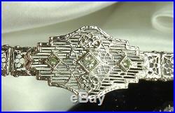1920s ART DECO STERLING FILIGREE Bracelet SIGNED EI Franklin PERIDOT Stones FAB