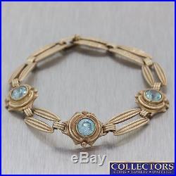 1920s Antique Art Deco 10k Yellow Gold 2.25ctw Blue Zircon Chain Bracelet E8