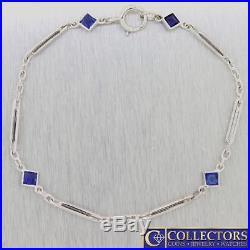 1920s Antique Art Deco 18k White Gold Sapphire Bar Cable Chain Link Bracelet S8