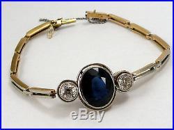 1920s Antique Art Deco 18k and Platinum on Top Diamond & Sapphire Bracelet