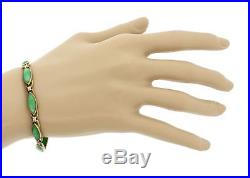 1920s Antique Art Deco Estate 14k Solid Yellow Gold Marquise Cut Jade Bracelet