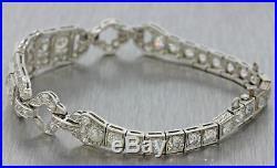 1920s Antique Art Deco Estate Women's Platinum 11.0ctw G SI1 Diamond Bracelet
