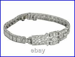 1920s Antique Art Deco Platinum 2.39ctw Diamond 12mm Wide Link Bracelet