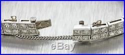 1920s Antique Art Deco Platinum 9.73ctw Diamond & Sapphire Tennis Bracelet