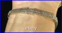 1920s Art Deco 10k White Gold Blue Sapphire Bracelet Floral Filigree 7.2g 7