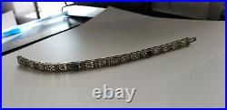 1920s Art Deco 10kt White Gold Filigree Diamond Bracelet