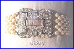1920s Art Deco Pearl Bracelet Pot Metal Pavé Paste Rhinestones Clasp