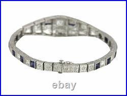 1920s Art Deco Platinum 2.36ctw Diamond & Blue Sapphire Filigree 6.50 Bracelet
