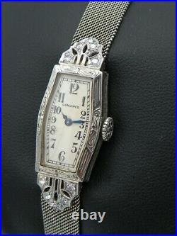 1928 Lady Longines Art Deco 14k/18k White Gold & Diamond Watch 14k Mesh Bracelet