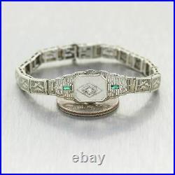 1930 Antique Art Deco 10k White Gold 0.14ctw Diamond & Emerald Filigree Bracelet