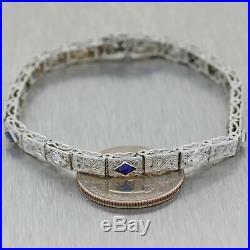 1930 Antique Art Deco 14K White Gold. 45ctw Sapphire Diamond 4mm Tennis Bracelet