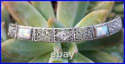 1930 Antique Art Deco 14k White Gold Opal Diamond Filigree Bracelet Estate 10.6g