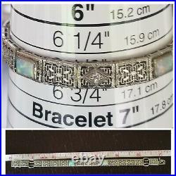 1930's Antique Art Deco 14k Gold Opal Diamond Filigree Bracelet Estate 10.6 gm