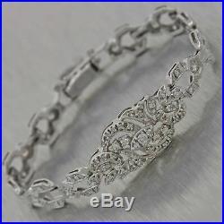 1930's Antique Art Deco 14k White Gold 1.5ctw Diamond Filigree Bracelet
